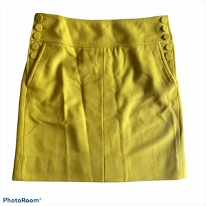 J. Crew Yellow Green Chartreuse Wool Blend Skirt 8